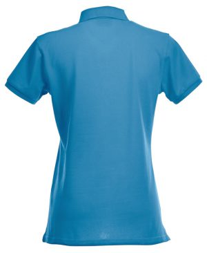 Polo Premium Stretch Clique turquoise Lady achterzijde - Yipp & Co Textiles