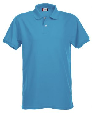 Polo Premium Stretch Clique turquoise voorzijde - Yipp & Co Textiles