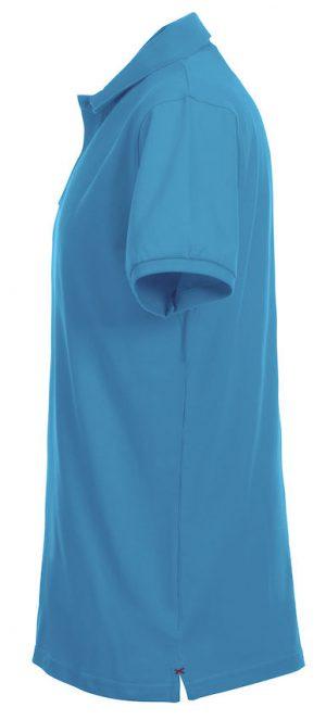 Polo Premium Stretch Clique turquoise zijkant - Yipp & Co Textiles