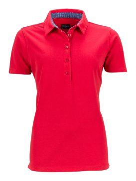 Polo Modieuze Details James & Nicholson Lady rood - Yipp & Co Textiles