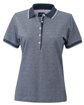 Polo Tweekleurig James & Nicholson Lady navy-wit - Yipp & Co Textiles